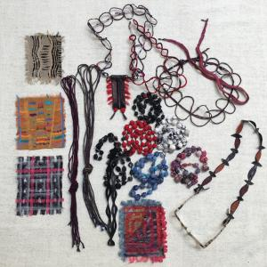 Collection of hand made embroidered pieces for the exhibition at HIGH by Claire Campbell