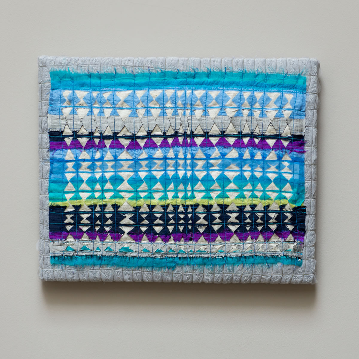 Stretched silk contemporary embroidery